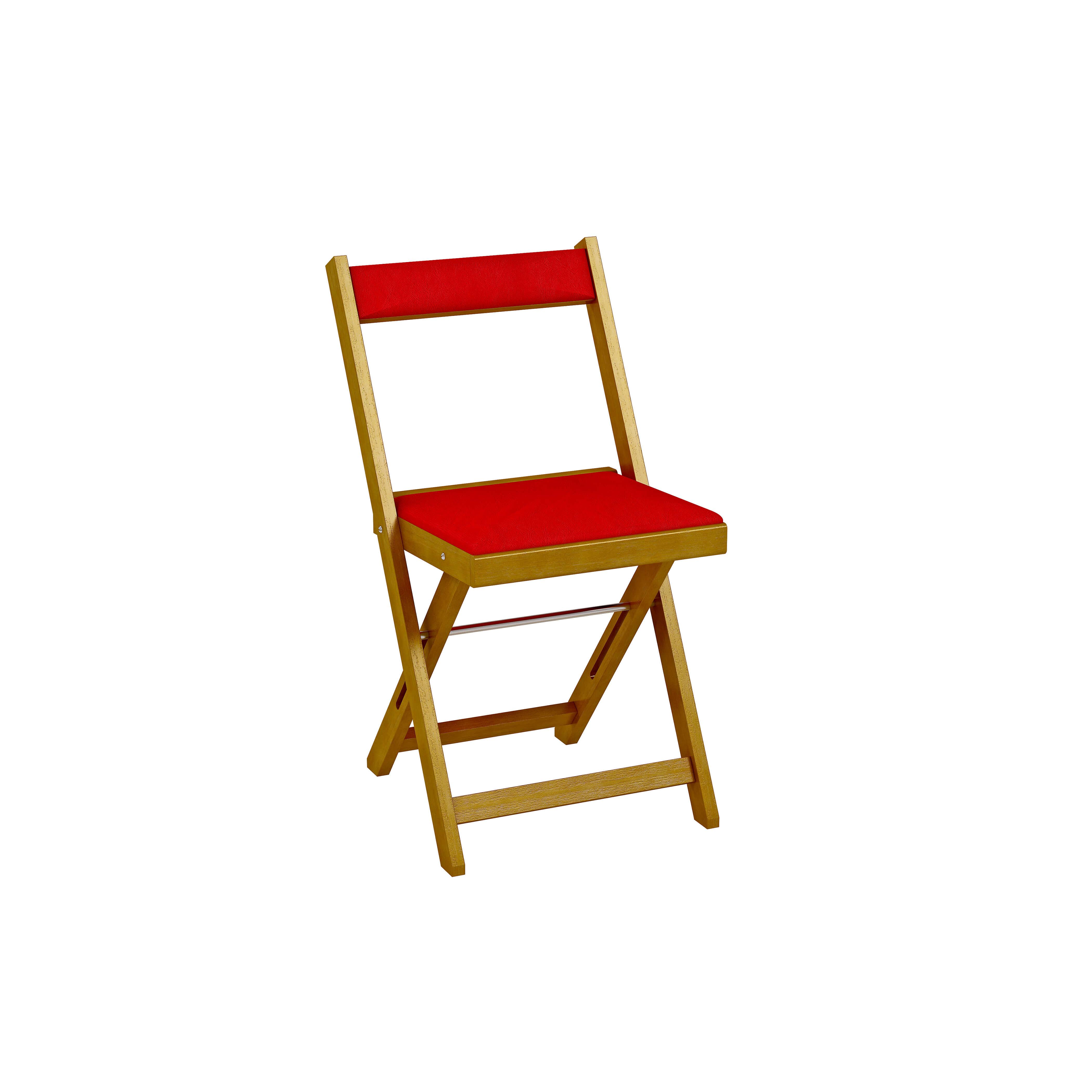 Cadeira Dobrável Estofada - Imbuia - Vermelho REF: 2003 Largura:   Comprimento: