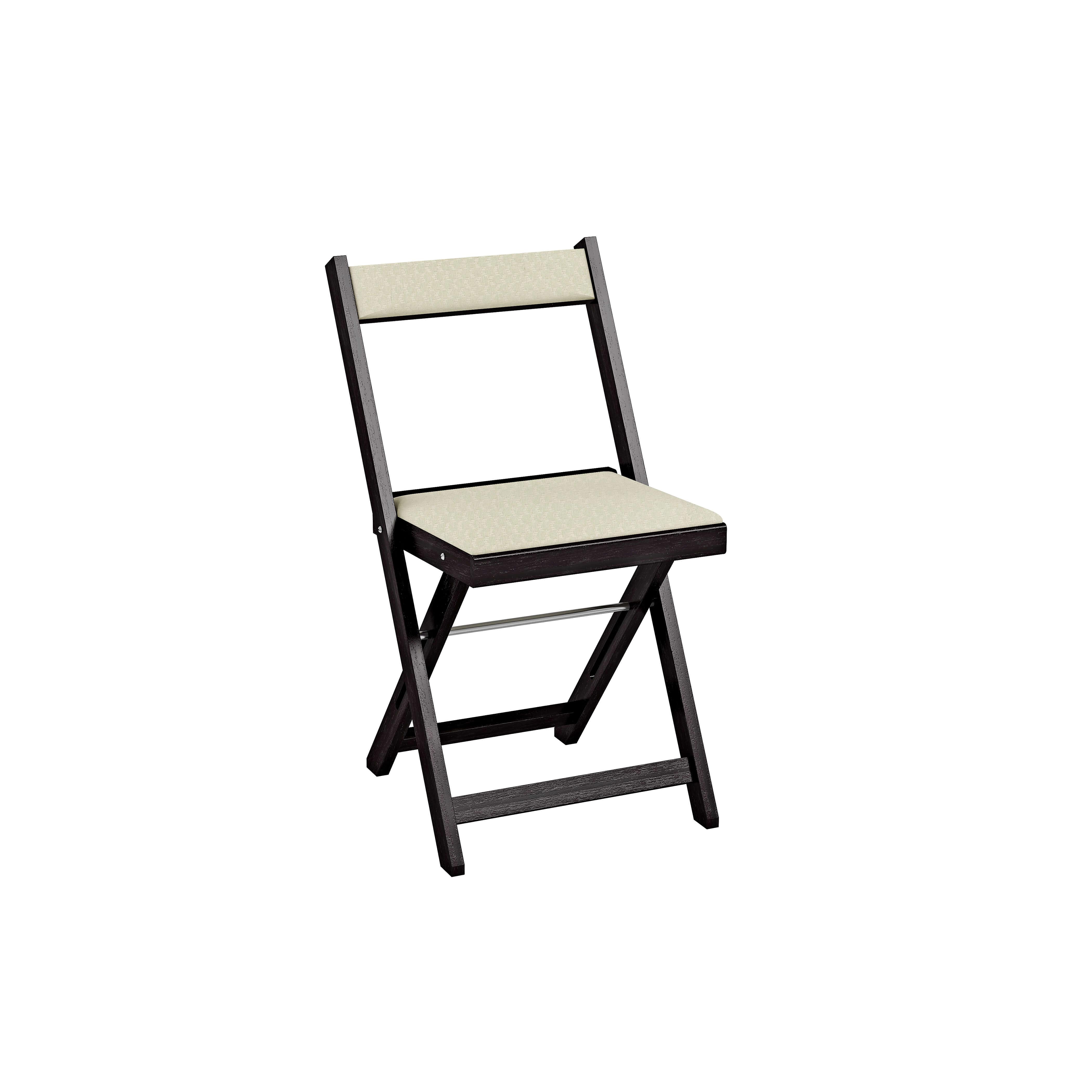 Cadeira Dobrável Estofada - Tabaco - Creme REF: 2003 Largura:   Comprimento: